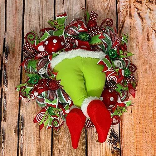 N / A Weihnachtskranz 16 Zoll Weihnachten Dekoration Weihnachtsdeko Kranz Deko Wie der Grinch den Weihnachtskranz tür Aus Sackleinen Gestohlen Hat,Geeignet für die Inneneinrichtung
