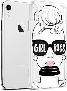 Funda iPhone XR, Eouine Cárcasa Silicona 3D Transparente con Dibujos Diseño Suave Gel TPU [Antigolpes] de Protector Bumper Case Cover Fundas para Movil Apple iPhone XR 2018-6,1 Pulgadas (Girl Boss)