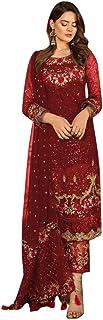 9167 Indian Dark Red Ready To Wear Pakistani Dress Faux Georgette Suit Heavy Embroidery Work Party Wedding Festive Wear Women