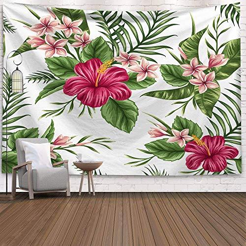 KHKJ Palme Wandteppich Wandbehang Tropische Blätter Blumen Muster Wandteppiche großer Hintergrund Decke Wand Stoff Teppich A12 200x150cm