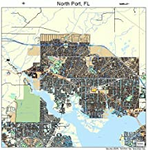 Large Street & Road Map of North Port, Florida FL - Printed poster size wall atlas of your home town