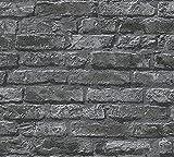 Papel pintado efecto piedra gris efecto 3D fotomural realista de piedra en gris y negro con patrón de ladrillo moderno incluye cola de papel pintado fabricada en Alemania