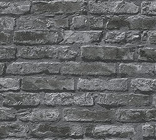 Papel Pintado Ladrillo Negro Marca Loft Story