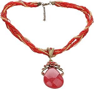 قلادة حريمى من الخرز مع قلاده من الحجر البوهيمى لون أحمر غامق رقم الصنف 1127 - 7