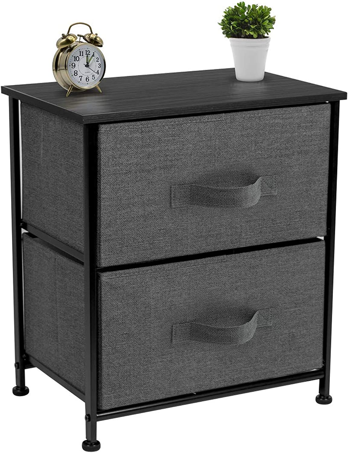 Sorbus Nightstand with 2 Drawers - Bedside Furniture & Accent End Table Chest for Home, Bedroom Accessories, Office, College Dorm, Steel Frame, Wood Top, Easy Pull FabricBins (2-Drawer, Black)