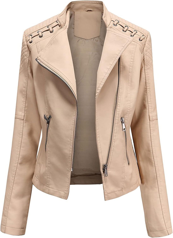 ZLSLZ Womens Ladies Faux Leather Zipper Punk PU Slim Motorcycle Biker Short Jacket Coat