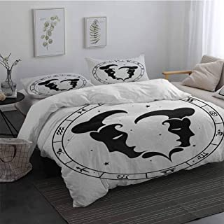 3 Pieces Duvet Cover Set Zodiac Gemini Zodiac Wheel with Twelve Signs Abstract Male Portraits with Stars Tattoo Ultra Soft Microfiber Black and White King