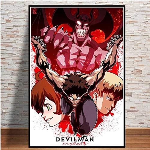 KWzEQ Hauptdekoration Leinwand Wandkunst Teufel Anime nordischen Bild modulares Poster,Rahmenlose Malerei,50X75cm