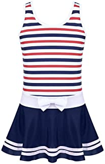 LiiYii Kids Girls Vacation Bowknot Striped Swimdress Pool Party Water Park One Piece Beachwear Swimwear