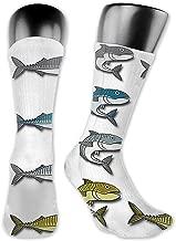OLGCZM Mackerel Vector Cartoon Illustration Men Womens Thin High Ankle Casual Socks Fit Outdoor Hiking Trail