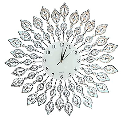 """Lulu Decor, 25"""" Crystal Leaf Metal Wall Clock, 9"""" White Glass Dial with Arabic Numerals, Decorative Clock for Living Room, Bedroom, Office Space"""