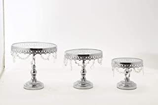 SIMPLY ELEGANT Metal Cake Stand With Glass 3pc/set (Silver)