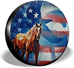 HAINANBOY Tire Covers Horse and Flag Potable Ployster Waterproof Spare Tire Wheel Covers Protector for Jeep Trailer RV SUV Truck Camper Travel Trailer Accessories(14,15,16,17 Inch)