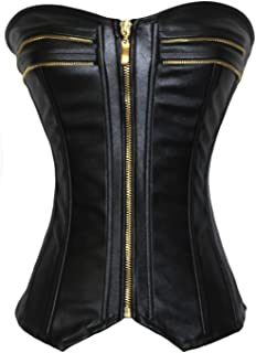 Women's Punk Rock Faux Leather Buckle-up Corset Bustier Basque with G-String