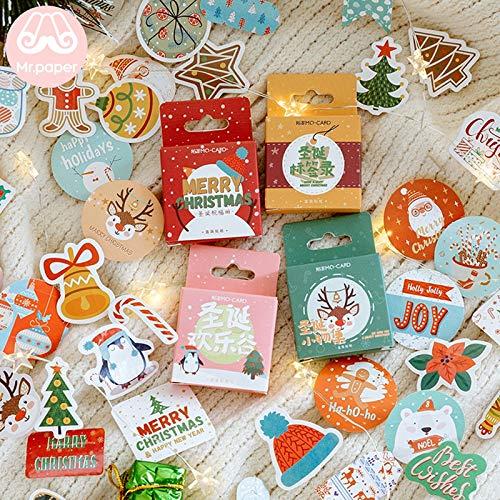 Vrolijk kerstmis ring klokken snoep kerstboom sticker Little Box DIY kerstman deco sticker 45 stuks / verpakking