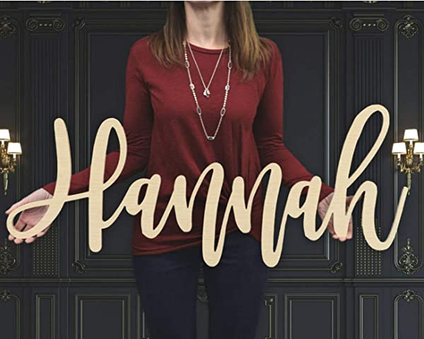 Custom Personalized Wooden Name Sign 12 55 WIDE HANNAH Font Letters Baby Name Plaque PAINTED Nursery Name Nursery Decor Wooden Wall Art Above A Crib