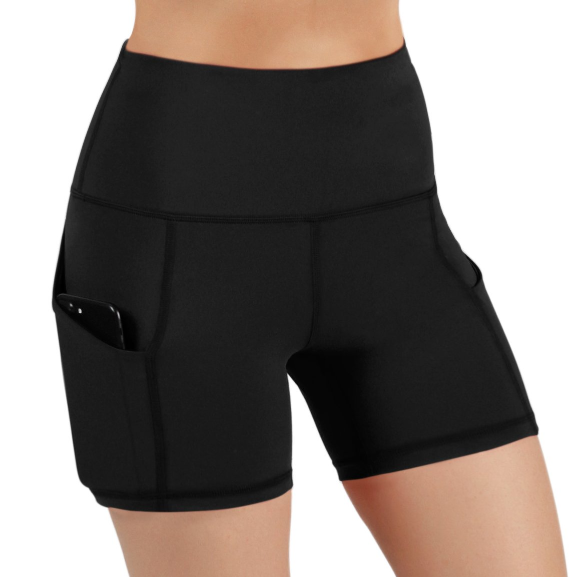 REETOYO Womens 8 High Waist Tummy Control Workout Running Yoga Shorts Side Pockets
