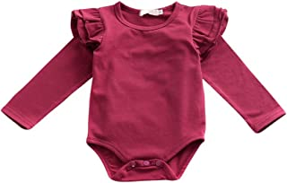 Weixinbuy Baby Girls' Toddler Long Sleeve Ruffled Solid Cotton Romper Clothes 0-6 Months Red