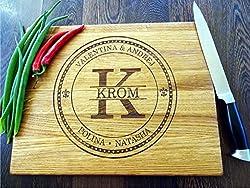 Schneidebrett Personalisiertes Handgefertigt mit Monogramm. Frühstücksbrettchen Hochzeit Geschenke für das Paar Brot Schneidebrett