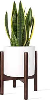 Mkono Plant Stand Mid Century Wood Flower Pot Holder Display Potted Rack Rustic Decor, Up to 8 Inch Planter (Plant and Pot NOT Included), Dark Brown