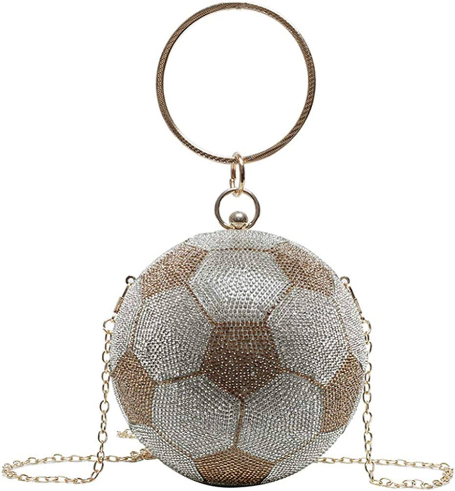 VALICLUD Evening Bag for Women Round Soccer Ball Football Shaped Purse Crossbody Dazzling Clutch Ring Handle
