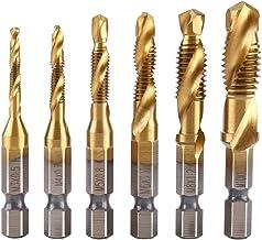6Pcs Drill Broca Combinación Titanium HSS Recubierto 1 / 4inch Hebilla De Taladro Hexagonal Métrica Broca Y Drill Tap bits Set M3-M10