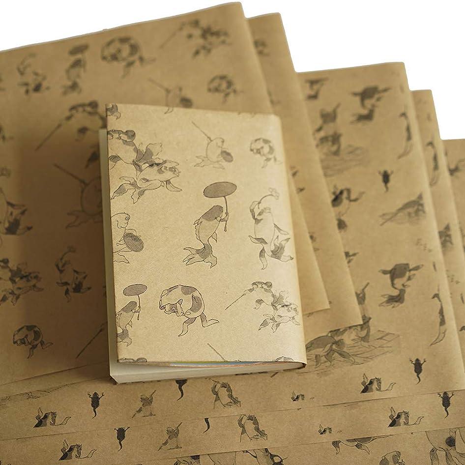 マイル最後の連隊紙製ブックカバー 歌川国芳「金魚づくし」 (クラフト紙)