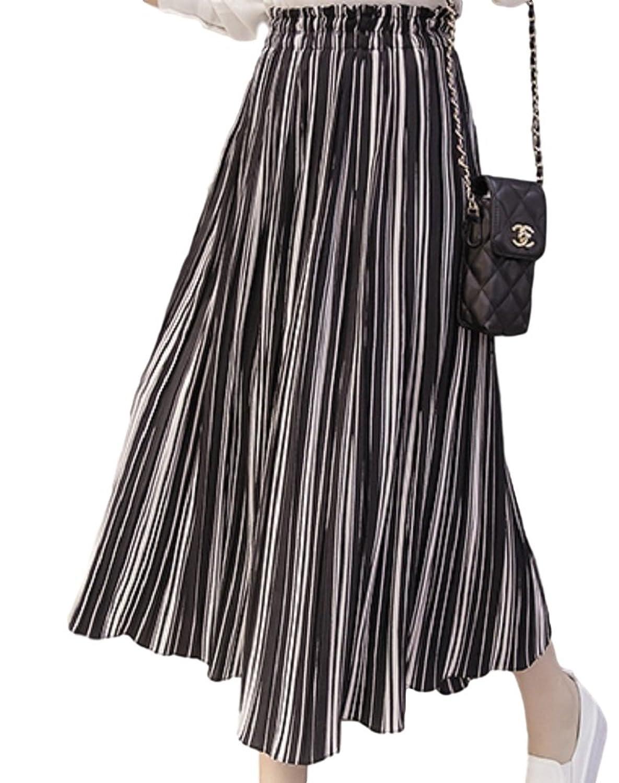 ELPIS レディース ファッション 春 夏 ボトムス パンツ ガウチョ スカンツ ストライプ シフォン プリーツ ワイドレッグ ウエスト ゴム キュロット 各2色 S M L XL サイズ(ブラック,L)