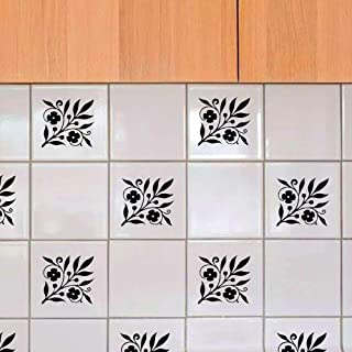 Minoly 16-Pack Floral Branch Tile Stickers Waterproof Tile Decals Kitchen Wall Decals Flower Bathroom Wall Stickers, Waterproof, Black