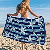 Zzkol Blue Stripes Starfish Beach Towel, Sea Ocean Marine Life Microfiber Sand Free Swim Pool Towel 30'' x 60'', Summer Quick Dry Absorbent Travel Bath Camping Picnic Blanket Adult Men Women