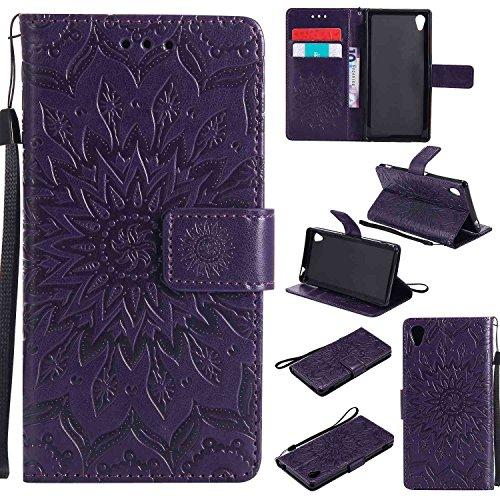 pinlu® PU Leder Tasche Etui Schutzhülle für Sony Xperia M4 Aqua (5 Zoll) Lederhülle Schale Flip Cover Tasche mit Standfunktion Sonnenblume Muster Hülle (Lila)