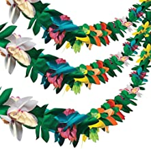 Cieovo Long Tropical Multicolor Tissue Flower Banner Garland for Hawaiian Jungle Beach Themed Party Moana Party Luau Supplies Decorations (3pack)