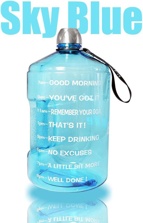 128Oz 73Oz 43Oz 1 Half Gallon Water Bottle Jug with Time Marker Plastic Jug Large Capacity Drinking Bottles,3.78L 128Oz Bottle,Sky bluee