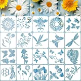 20 Pieces Reusable Flower Stencil Template for Painting, Sunflower Spring Summer Butterflies Bee Dragonfly Stencil Template, DIY Assorted Flowers Stencils for Painting on Wood Wall Home Decor