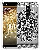 Sunrive Für Leagoo S8 Hülle Silikon, Handyhülle matt Schutzhülle Etui Hülle Backcover für Leagoo S8(TPU Blume Schwarze)+Gratis Universal Eingabestift