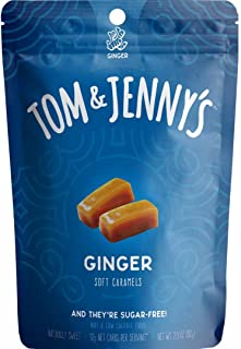 Tom & Jenny's Sugar Free Soft Caramel Candy with Sea Salt and Ginger Powder - Low Net Carb Keto Diet (Moderate 100g Lifestyle) - with Xylitol and Maltitol - (Ginger Caramel, 1-pack)