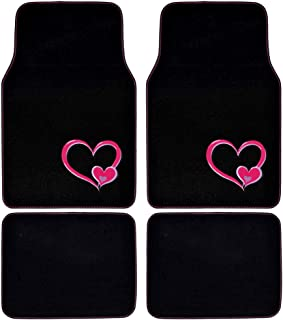BDK Design Carpet Car Floor Mats for Auto Van Truck SUV-4 Pieces Front & Rear Full Set with Rubber Backing-Universal Fit, Pink Heart Embossed (MT539)