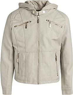 Jou Jou Big Girls' Faux Leather Jacket with Removable Fleece Hood