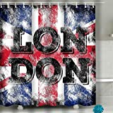 sfdgd Bathroom Shower Curtain 60x72 inch Set with Hooks - Spa, Hotel, Water Repellent London City Art England Street Graphic Style Fashion Stylish Print Template Apparel Card Label Poster