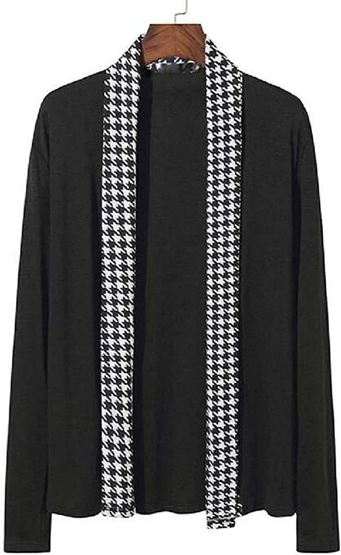 Gorgeous Men's Open Front Classic Shawl Sweat Houndstooth Knitwear Collar trust