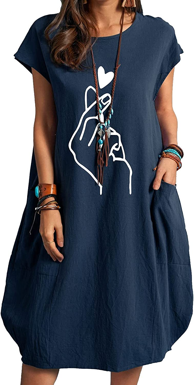GOODTRADE8 Summer Dresses Maxi Dress Women Casual O- Neck Finger Heart Print Plus Size Pocke