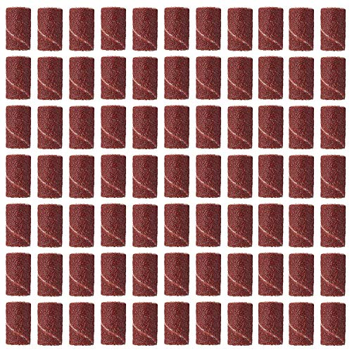 MISAZ 100 Pieces Drum Sanding Sandpaper Bands 1/4 inch (6mm) + 2 Pieces Mandrel 1/8' Shank Rotary Tool Sanding Drum Kit Nail Drill Bits Abrasive Tools - (Grit: 80, Color: Brown)