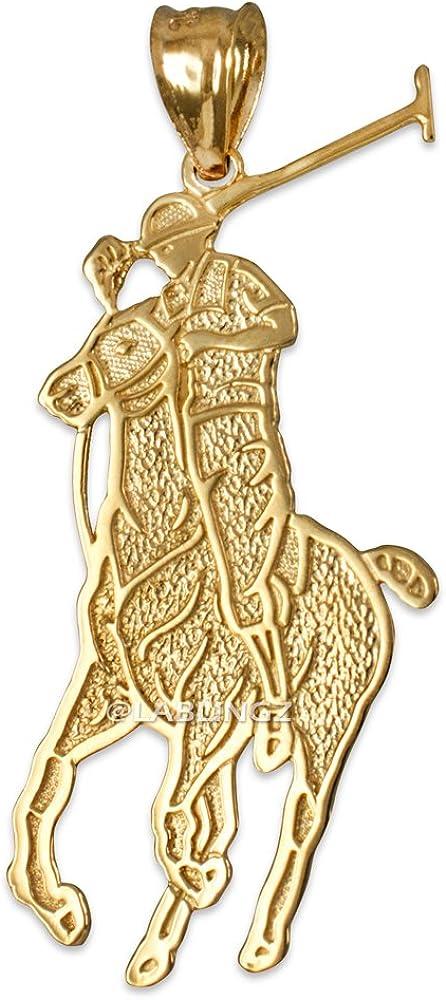 LA BLINGZ 14K Yellow Gold Polo Horse Rider Charm Pendant