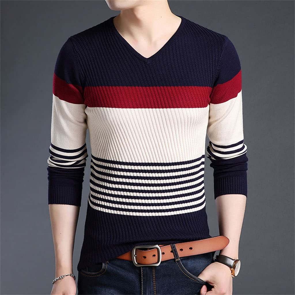 GPPZM Sweaters Men's Pullovers Striped Slim Fit Jumpers Knitwear Warm Autumn Style Casual Men Clothes (Color : B, Size : 5XL)