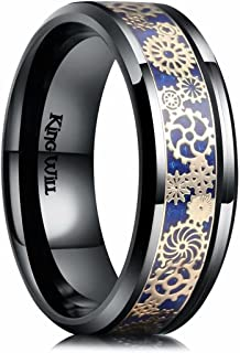 King Will Stainless Steel Wedding Ring Silver Gear Purple Carbon Fiber For Men Women Comfort Fit