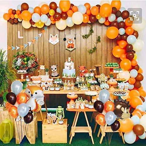 foci cozi Dschungel Tierland Party Ballon Kit: Fox und Igel Folienballon, Latex Party Ballon, Fox Sticker, Cupcake Toppers für Jungen Wald Geburtstag Baby Shower