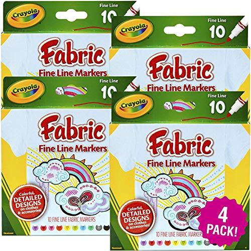Crayola Fine Line Fabric Markers 40/Pkg, 4 Pack