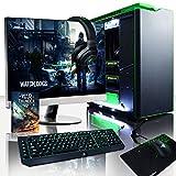 VIBOX Legend 35 - Ordenador para Gaming (27', Intel i7-5960X, 16 GB de RAM, 3 TB de Disco Duro, Nvidia Geforce GTX 980 Ti SLI, Windows 10) Color Negro y Verde - Teclado QWERTY Inglés