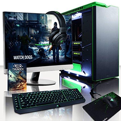 """VIBOX Legend 28 - Ordenador para Gaming (27"""", Intel i7-5960X, 32 GB de RAM, 3 TB de Disco Duro, Nvidia Geforce GTX 980 Ti SLI) Color Negro y Verde - Teclado QWERTY Inglés"""