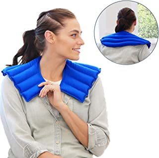 My Heating Pad Microwavable for Neck and Shoulders Pain Relief | Weighted Neck Wrap Hot Compress Pack | Neck Wrap Microwavable | Target Muscle, Joint, Stress and Tension Relief (Blue)